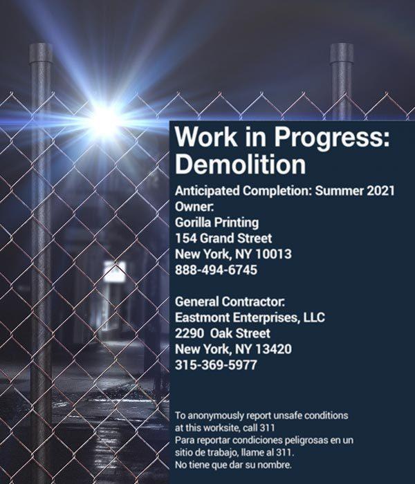 Demolition Construction Fence Signs